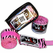 VELO Hand Wraps Bandages Boxing Inner Gloves Muay Thai MMA Cotton Pink Zebra