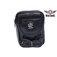 BIKER MOTORCYCLE GENUINE LEATHER Womens Bag with Small Tulip BAG15