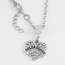 Colorguard Necklace  Crystal Heart Charm Necklace jewelry  Free gift included