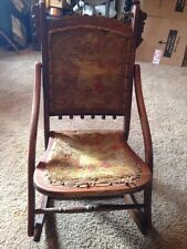Vtg 1900's Folding Sewing ,Nursing Rocking Chair Unique Victorian Tapestry