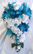 17pcs Wedding Cascade Bridal Bouquet Silk Flower Teardrop TURQUOISE WHITE
