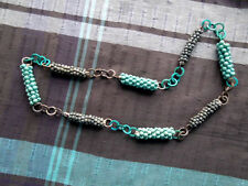 FABULOUS Necklace, 86 cm, Green Taupe Teal Wooden Beads Chains QUIRKY ARTY BOHO