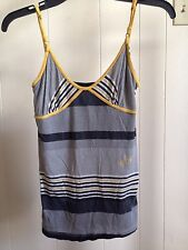 Volcom Stone Black Yellow Striped Women's Size XS Tank Top Shirt Spaghetti Strap