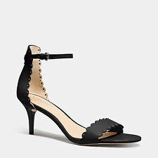 Coach Monica Soft Shine Leather A01149 Kitten Heel Shoes Sandals 7.5 M NEW $185
