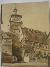 ROTHENBURG ob der Tauber Weißer Turm Judentanzhaus Judaica Aquarell um 1930