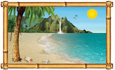 TROPICAL BEACH Scene Setter party wall decoration kit 5' scenic window ocean