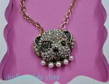 Betsey Johnson DOG Puppy Face Charm Necklace Heart Crystal Pearl Charms Pink Box