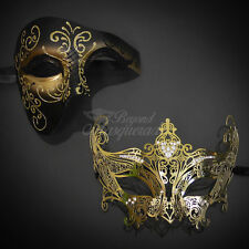 Matching Couple Gold Phantom Warrior + Gold Metal Swan Venetian Masquerade Mask