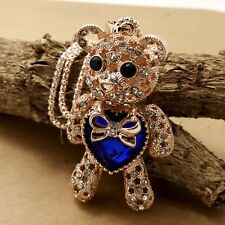 Fashion gold plating Bear Mosaic crystal Sweater chain Long necklace KK256