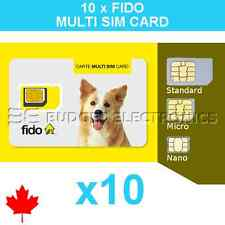 10 pcs of Fido Triple Format Nano Micro Regular Standard Multi Sim Card LTE