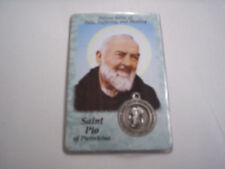 St. Pio Medal and Prayer Card, Patron Saint Of Pain, Suffering, & Healing, New