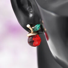 Red Apple Ear Stud Earrings Fashion Charm Crystal Rhinestone Piercing Jewelry