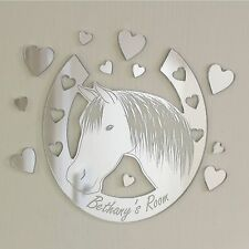 Horse Shoe Hearts Mirror Personalised Door Name Plaque Boy Girls Bed Room Sign