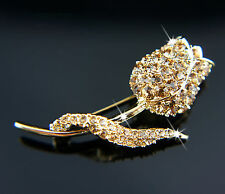 14k Gold plated Swarovski crystals elements rose flower brilliant brooch pin