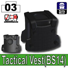 Black BS14 Tactical Army Vest (W254) compatible with toy brick minifigures