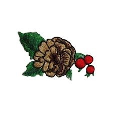 ID 7317 Pine Cone and Holly Christmas Decor Iron On Embroidered Patch Applique