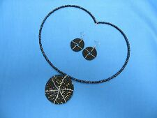 AFRICAN ETHNIC JEWELRY KENYA Maasai GLASS BEAD PENDANT NECKLACE WITH EARRINGS A