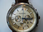 Fossil mens chronograph brown leather band Analog watch.Fs-4248