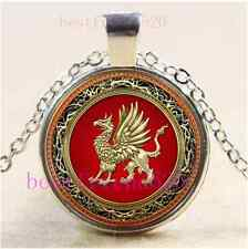 Sacred Gold Griffin Cabochon Glass Tibet Silver Chain Pendant  Necklace