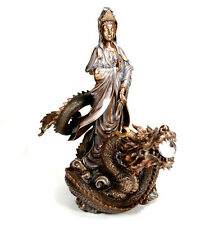 "KWAN YIN DRAGON STATUE 12.5"" Goddess Chinese Buddha HIGH QUALITY Quan Guan NEW"
