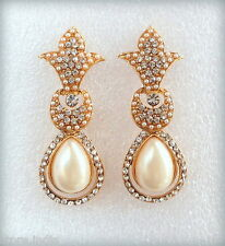 Designer Indian Bollywood Royal Gold Plated Pearls Traditional Jewelry Earrings