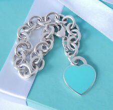 "Tiffany & Co Return To Tiffany Silver Blue Enamel Heart Charm 8"" Bracelet Mint!"