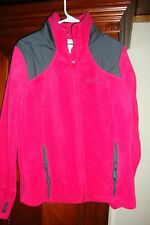 Womens Pink Gray Columbia Warm Fleece Comfort Jacket Running Athletic Size L EUC