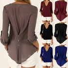 Women Summer Tops Sexy V Neck Chiffon Blouse Casual Loose  Long Sleeve T Shirt