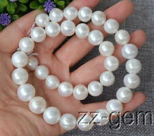 SP0221  12-15MM White Round Freshwater pearl loose Beads 15''