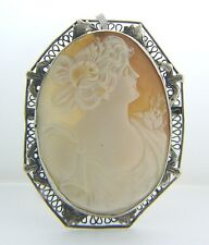 ESTATE STERLING SILVER CAMEO BROOCH VINTAGE APC-28-1