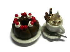Set of Coffee and Chocolate Cherry Cake Dollhouse Miniatures Food Bakery Yummy-5