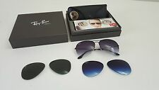 Rare Ray Ban Aviator Flip Out RB3460 002/71 59 w/gray gradient/polar blue/green
