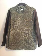 NWT H&M 2013 Spring Collection Faux Leather Sleeves Olive Camouflage Jacket