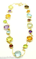 """14K Yellow Gold Fancy Cut Multi-Colored Round Shaped Gemstone Necklace 36"""""""