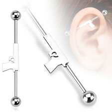 316L Surgical Steel Hand Gun Ear Cartilage Industrial Barbell Piercing 14 GA