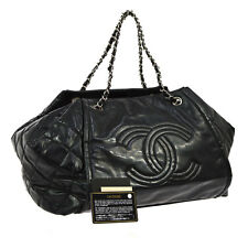 Auth CHANEL Quilted CC Chain Hand Tote Bag Black Patent Leather Vintage NR08856