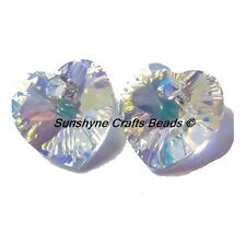 SWAROVSKI CRYSTALS Beads 6228 CRYSTAL AB 10.3x10mm Hearts 2 Pieces