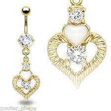 Real Gold Plated Navel Ring Clear CZ White Heart Dangle Belly Bar Sexy Unique