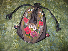 Antique Victorian Edwardian Floral Drawstring Reticule Petit Point Beaded Purse