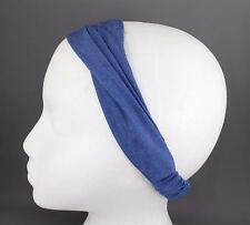 Med Blue chambray denim headband stretch kerchief 3in1 scrunch bandana jean look