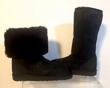 UGG Australia 5815 Boots Black Classic Tall Suede & Shearling Size:7W(can fit 8)