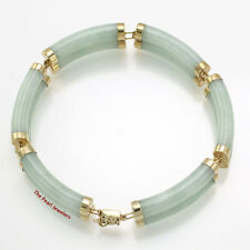 14k Yellow Gold 6 Segments of Double Curved Tube Apple Green Jade Bracelet 7""