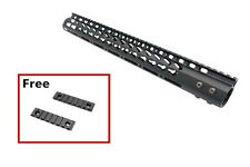 ".223/5.56 15"" Slim Keymod HandGuard w/ Steel Barrel Nut+2 Free Keymod Sections"