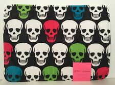 "Betsey Johnson NWT Memory Foam Black With SKULLS Bath Mat 17""x24"""
