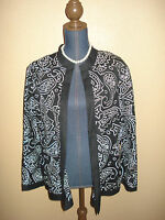 Victor Costa Occasion Black White Embroidered Linen Blend Open Jacket Size L NWT