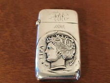 Antique Frank M Whiting Sterling Silver Match Safe Ancient Roman or Greek Coin
