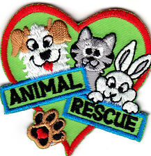 """ANIMAL RESCUE"" - DOGS - PETS - CATS - ANIMALS -  Iron On Embroidered Patch"