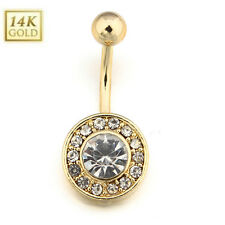1pc 316L Surgical Steel Clear Paved CZ Round Dangle Navel Ring Belly Button Ring