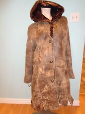 Genuine Leather/Fur No Brand Name Shearling Coat with Hoodie SIze S EUC