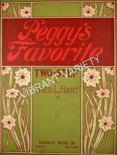 Peggy's Favorite Two Step By Fred. L. Hart 1904 Sheet Music